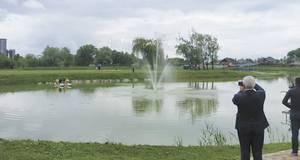 На Олесницькому озері у Борисполі встановили фонтан. Відео