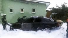 Пожежа у Борисполі: горів легковий автомобіль «Mercedes-Benz». Фото