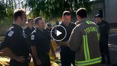 Канадські пожежники подарували бориспільським вогнеборцям сучасне спорядження. Відео
