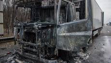 На Бориспільському шосе під час руху загорілася фура – автомобіль вигорів вщент. Фото