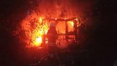 Пожежа у Борисполі вщент знищила дерев'яну господарчу будівлю. Фото